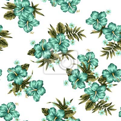 Türkis Tropische Blumen Nahtlose Muster