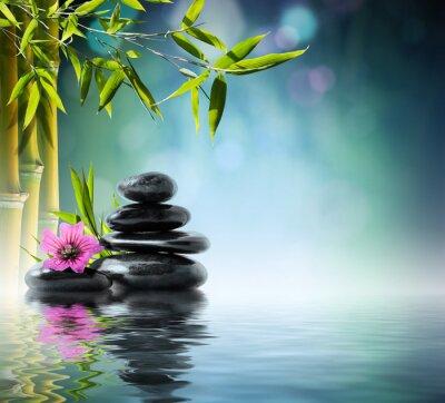 Turm aus schwarzem Stein und Hibiskus mit Bambus auf dem Wasser
