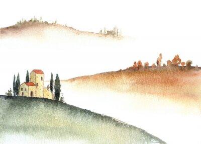 Bild Tuscan villa and distant hills landscape watercolor painting.