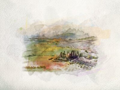 Bild Tuscany landscape at sunrise in watercolors.
