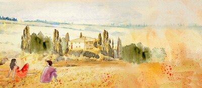 Bild Tuscany, romantic date. Watercolor