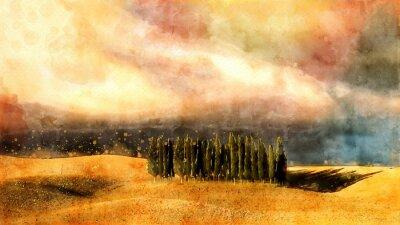 Bild Tuscany watercolor lanscape.