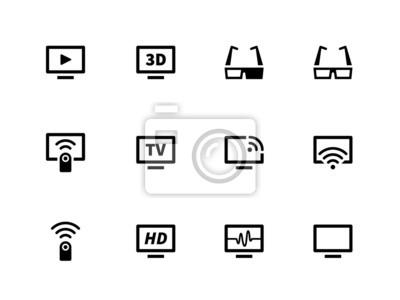 TV-Icons auf weißem Hintergrund. Vektor-Illustration.