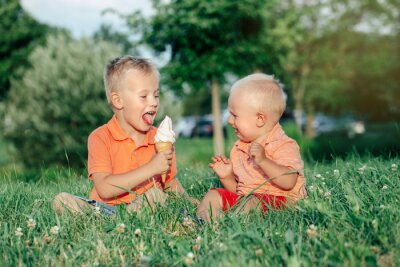 Bild Two Caucasian funny children boys siblings sitting together eating sharing one ice-cream. Toddler younger baby crying and older brother teasing him. Love envy jealous brothers friendship.