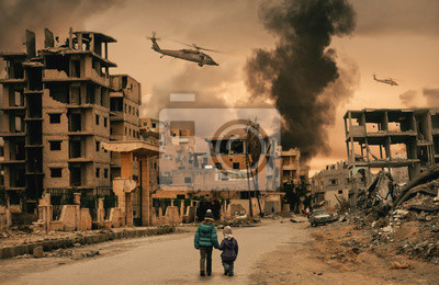 Bild Two homeless little girl walking in destroyed city, soldiers and helicopters and tanks are still attacking the city