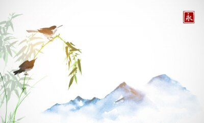Bild Two little birds, bamboo branch and far blue mountains. Traditional oriental ink painting sumi-e, u-sin, go-hua. Hieroglyph - eternity.
