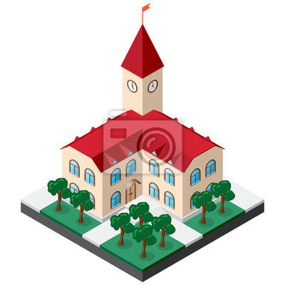 Bild Two-story townhouse building with clock on the tower surrounded by lawn with trees and sidewalks. Isometric Vector for design of various applications.