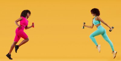 Two strong athletic, women sprinter or runner, running on yellow background with dumbbells wearing color sportswear. Fitness and sport motivation.