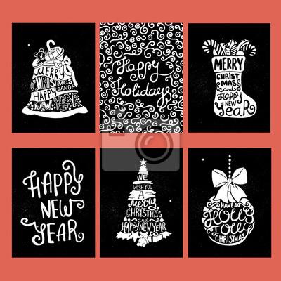 Bild Typografische Weihnachten und Neujahr Karten-Sammlung.