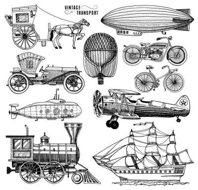 Bild U-Boot, Boot und Auto, Motorrad, Pferdekutsche. Luftschiff oder lenkbar, Luftballon, Flugzeug Maiskolben, Lokomotive. Gravierte hand gezeichnet in alten skizze Stil, Vintage Passagiere Transport.