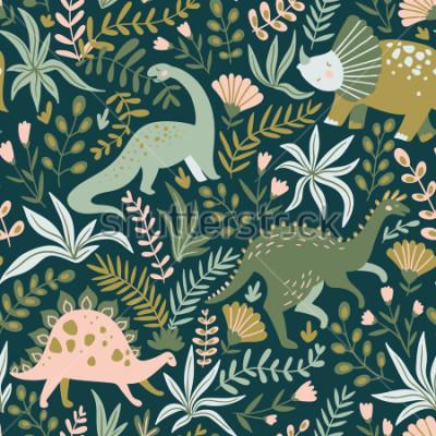 Bild Übergeben Sie gezogenes nahtloses Muster mit Dinosauriern und tropischen Blättern und Blumen. Perfekt für Kinder Stoff, Textil, Kinderzimmer Tapete. Netter Dino-Entwurf. Vektor-Illustration