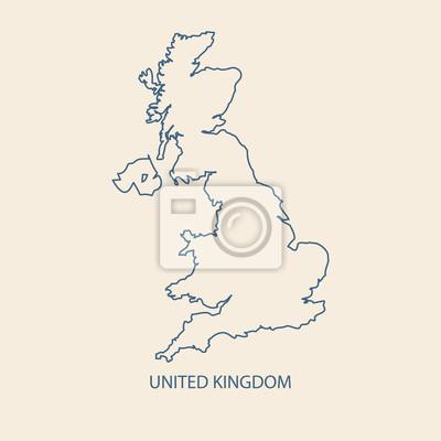 Großbritannien Karte Umriss.Bild Uk Karte Vektor Grossbritannien Kartenansicht Umrißvektor
