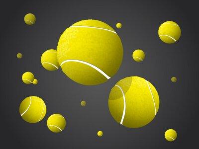 Bild Umzug Tennisbälle fliegen, fallen isoliert auf dunklem Hintergrund.