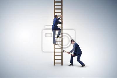 Bild Unethisches Wettbewerbskonzept des Geschäfts mit Geschäftsmännern