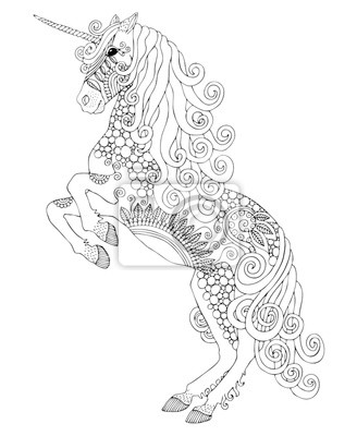 Unicorn. hand drawn fantasy horse. sketch for anti-stress adult ...