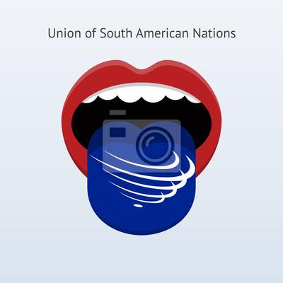 Union der Südamerikanischen Nationen Sprache. Abstrakt menschliche Zunge.