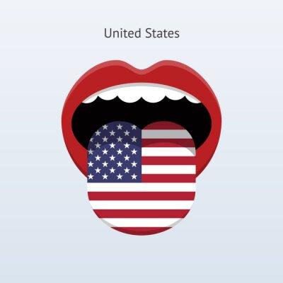 United States Sprache. Abstrakt menschliche Zunge.