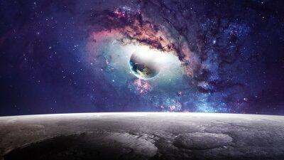 Bild Universe Szene mit Planeten, Sternen und Galaxien im Weltraum zeigt die Schönheit der Raumfahrt. Elemente von der NASA eingerichtet
