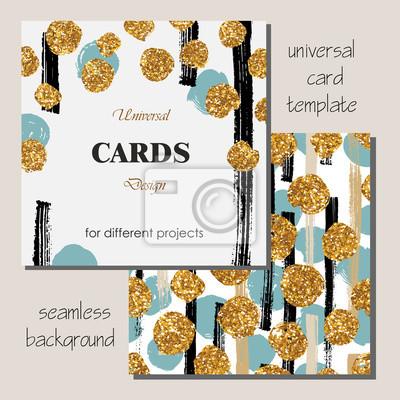 Bild Universelle moderne stilvolle Kartenschablone mit goldenen Funkeln-Punkten.