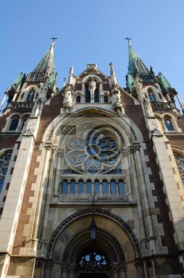 Unteransicht auf die katholische Kirche von St. Elisabeth, Kirche von St. Olha und Elizabeth