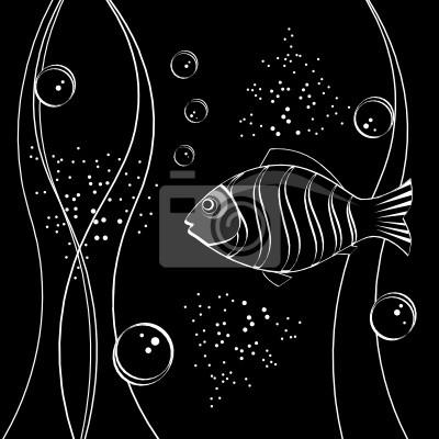 Unterwasser-Szene. Fische, Algen, Blasen.