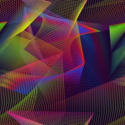 Urban chaotic seamless pattern swatch of iridescent broken lines.
