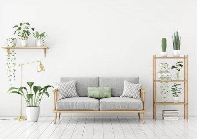 Bild Urban Dschungel Stil Wohnzimmer Mit Grauem Sofa, Goldene Lampe Und  Pflanzen In Töpfen