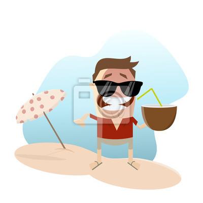 Sonnenschirm strand comic  Urlaub strand cocktail kokosnuss trinken leinwandbilder • bilder ...