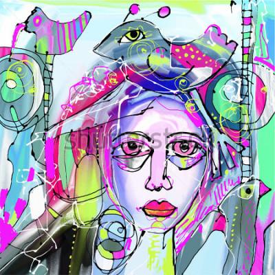 Bild ursprüngliche abstrakte digitale Malerei des menschlichen Gesichtes, bunte Zusammensetzung in der zeitgenössischen modernen Kunst, vervollkommnen für Innenarchitektur, Seitendekoration, Netz und ander