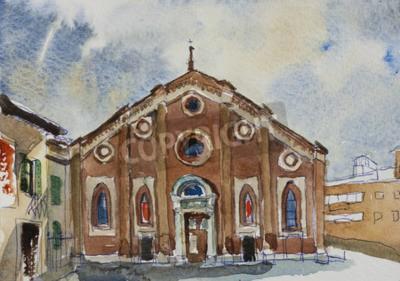 Bild Ursprüngliche Aquarellmalerei Postkarte Fassade von Santa Maria Delle Grazie in Mailand, Italien