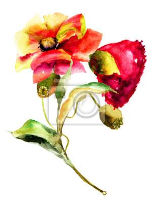 Ursprüngliche Blumen Aquarellillustration