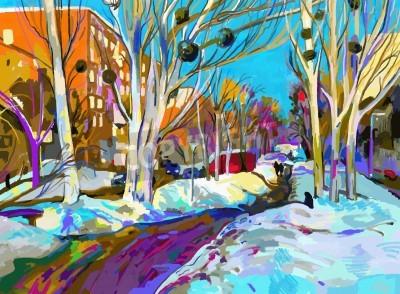 Bild ursprüngliche digitale Malerei Winter Stadtbild. Moderne Impressionismus