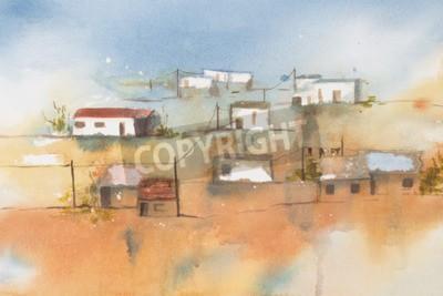 Bild Ursprüngliches Aquarell, afrikanisches Dorf.