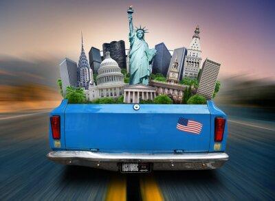 Bild USA, Sehenswürdigkeit USA in den Kofferraum eines fahrenden Autos