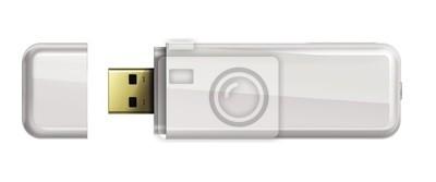 Bild USB Flash-Speicher isoliert auf weißem Hintergrund.