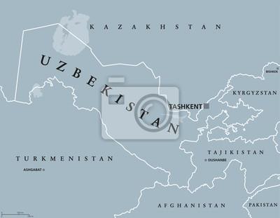 Usbekistan Karte.Bild Usbekistan Politische Karte Mit Hauptstadt Taschkent Und Internationalen