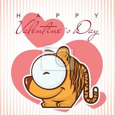 Valentinstag Grusskarte Mit Lustigen Comic Tiger Und Horen