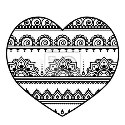 Valentinstag herz - mehndi, indischen henna-tattoo-muster ...