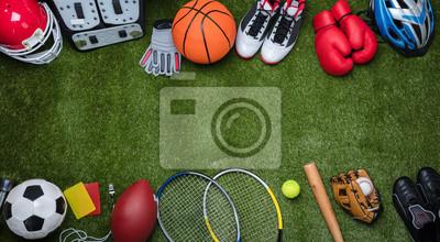 Bild Various Sport Equipments On Grass