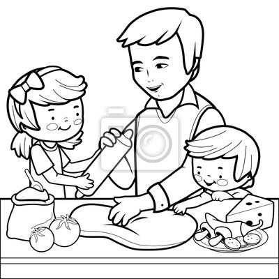 Vater und kinder kochen pizza in der küche. malvorlage ...