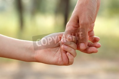 Bild Vaters Hand führen sein Kind Sohn im Sommer Wald natur, Vertrauen Familienkonzept