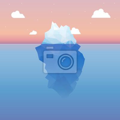 Bild Vector 3d Eisberg Abbildung Konzept. Erfolg, saubere blaue kalte Meer oder Ozean-Konzept.