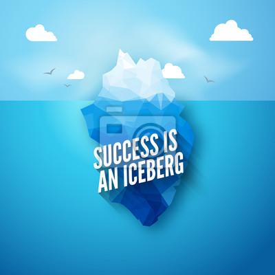 Bild Vector 3d Eisberg Abbildung Konzept. Erfolg zitat, sauber blau kaltes meer oder ozean konzept.
