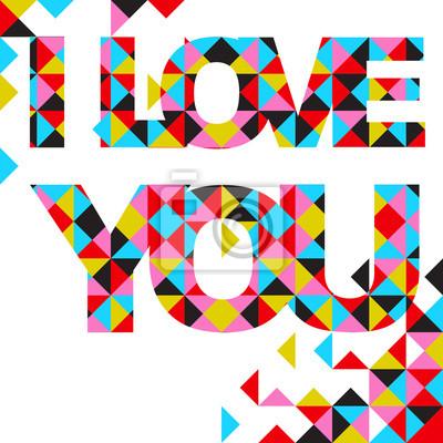 Vector abstract Karte - Ich liebe dich, geometrische Muster