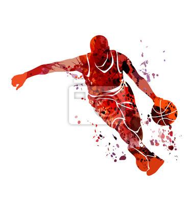 Vector Aquarell Silhouette Basketball-Spieler