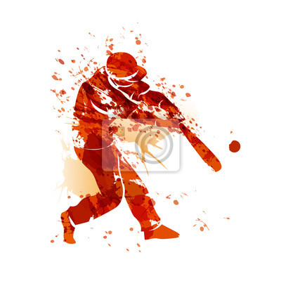 Vector Aquarell Silhouette eines Baseball-Spieler