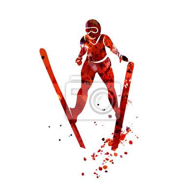 Vector Aquarell Silhouette Skispringer
