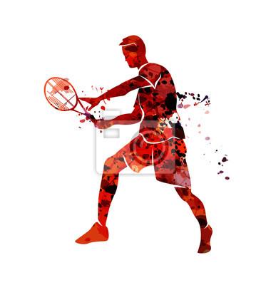 Vector Aquarell Silhouette Tennis Spieler