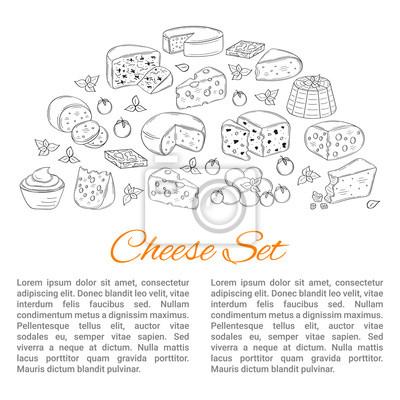 Vector banner-vorlage mit verschiedenen arten von käse, hand ...