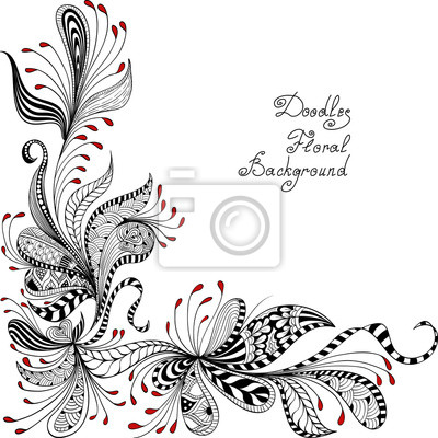 Bild vector black, red and white floral pattern